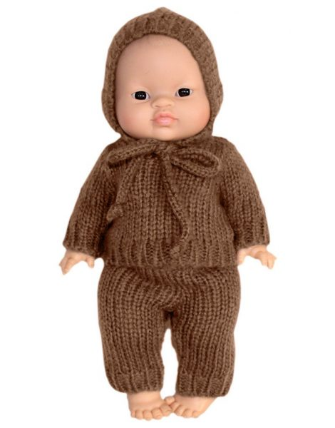 Gaspard Wool Handknit Outfit, Taupe - Minikane