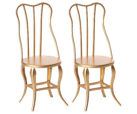 Maileg - Vintage chair, Micro - Gold, 2 pack