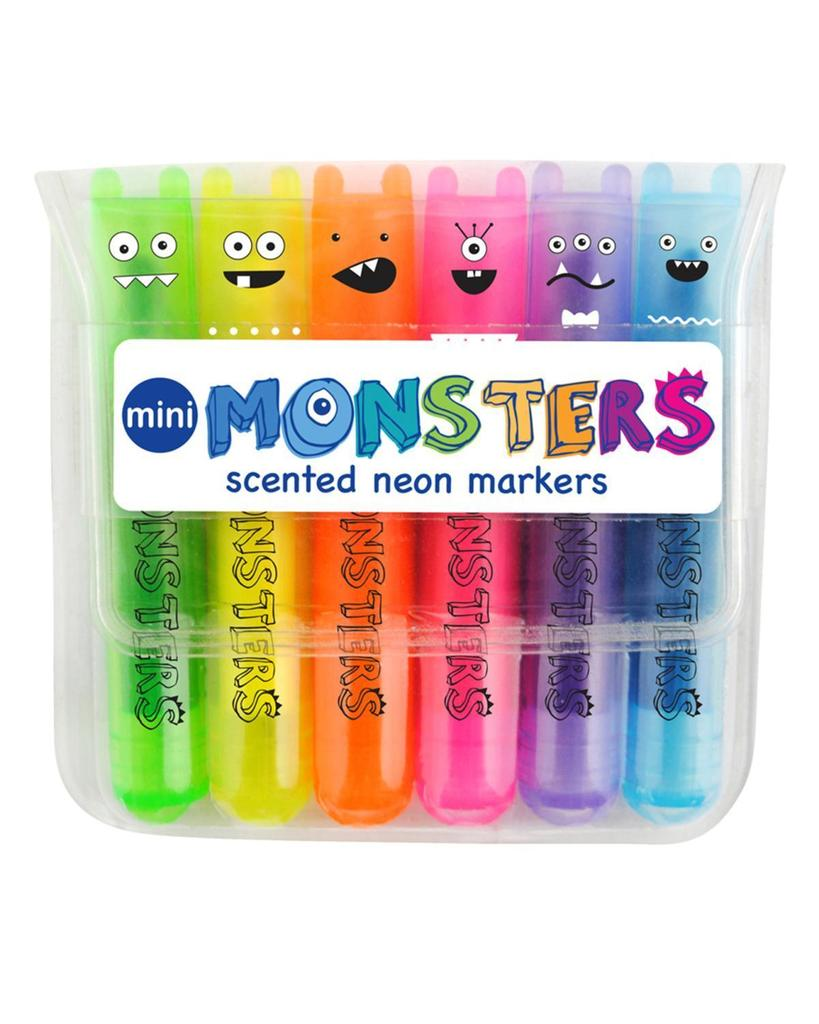 mini monster scented neon markers - set of 6