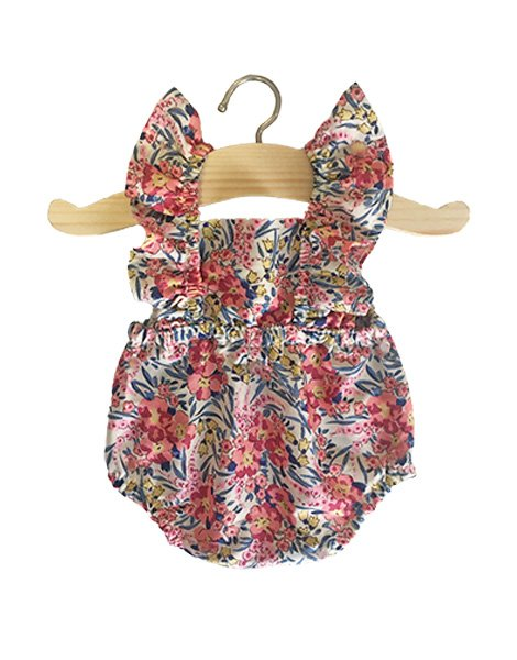 Little Doll Ruffle Retro Romper, Liberty Swinging Pearls - Minikane