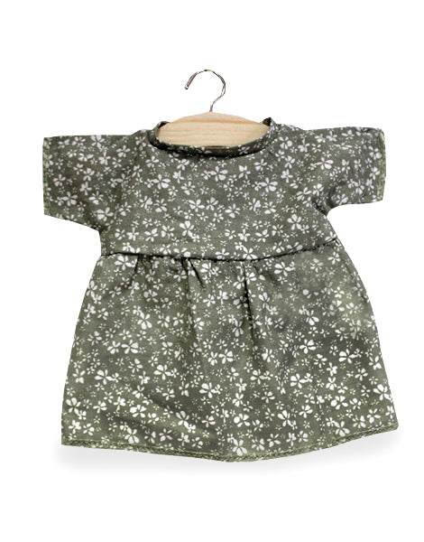 Cotton Dress with Linden Flowers, Green - Minikane