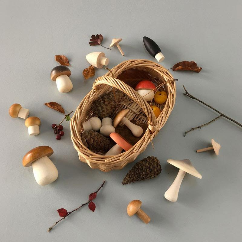 Wooden Mushroom Basket Set - Ships Mid November