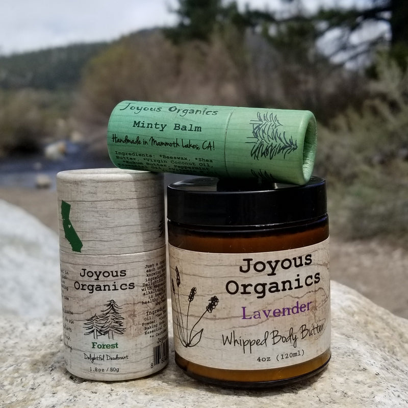 organic skincare, organic deodorant that works with organic body butter and organic lip balm