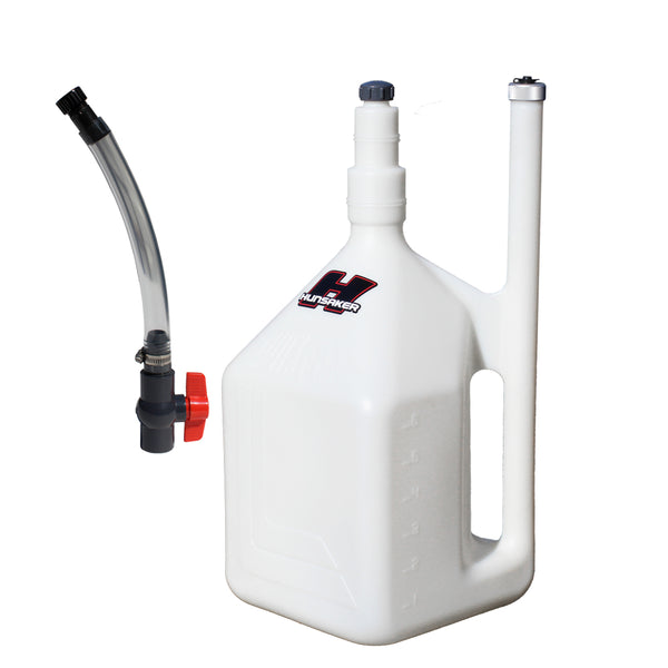 Hunsaker 8 gallon quick fill dumpcan fuel jug with ball valve hose kit