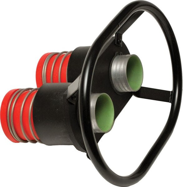 "REDHEAD MALE DOUBLE DRY BREAK VALVE w/100mm Center / 2.5"" Probe / 2.25"" Hose Barb / 2.0"" I.D. Bore"