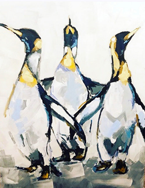 """All Nighter""(Partying Penguins) 40 x 30"