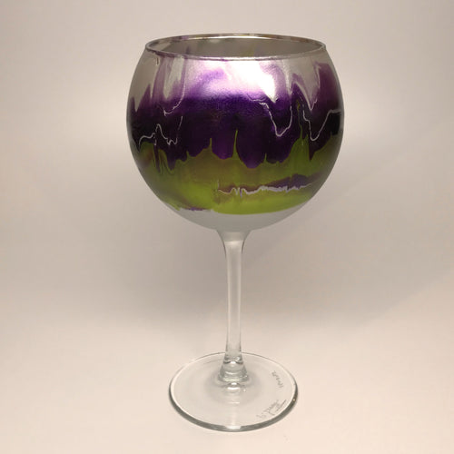 Wine Goblet - Silver, Violet and Chartreuse - Made to Order