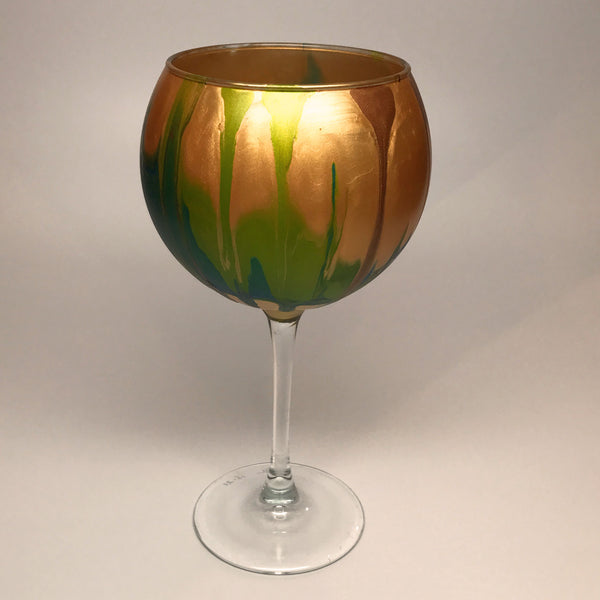 Wine Goblet - Gold, Teal and Chartreuse