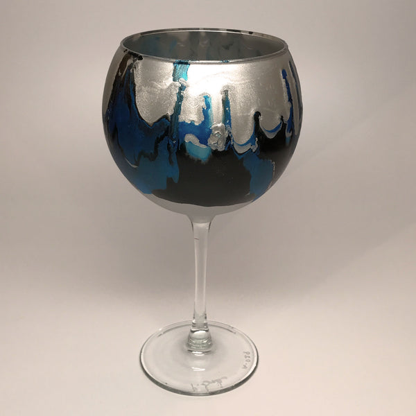 Wine Goblet - Silver, Cyan and Noir