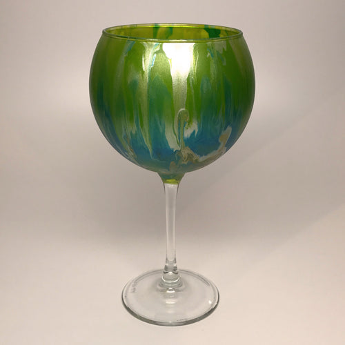 Wine Goblet - Silver, Teal and Chartreuse