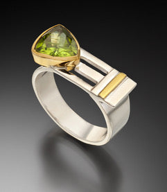 Comet Ring - Peridot, silver and gold