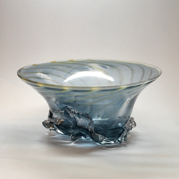 """Rock Bowl-light blue with gold swirl"" 12x6x12"