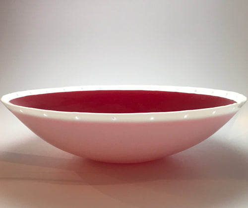 """Large Deep Red Moon Bowl"" 16 x 4 1/2 x 16"