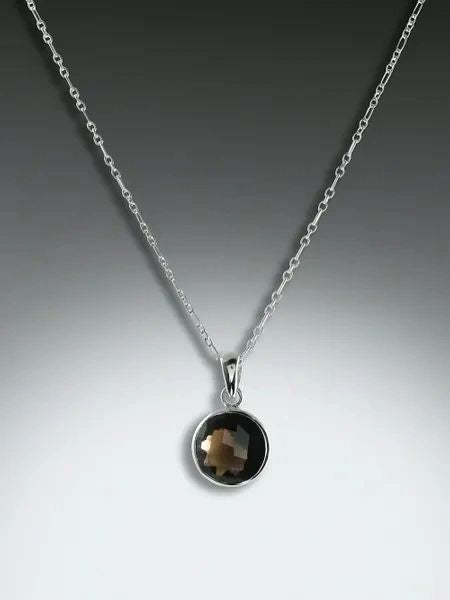 "round ""Bling"" smokey quartz pendant"