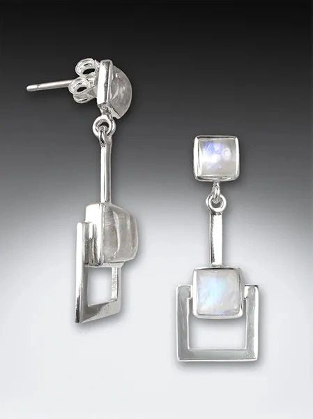 cut-out square moonstone earrings