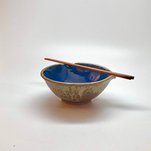 Traditional Chopstick Bowl w/ Pearl & Blue Glaze