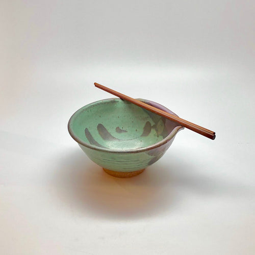 Traditional Chopstick Bowl w/ Green Earth Glaze