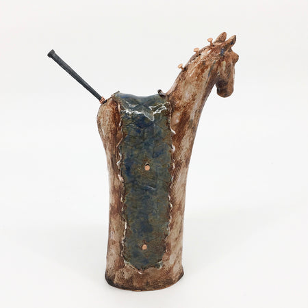Amber Vessel with embedded Copper Coils 5x4.5x5