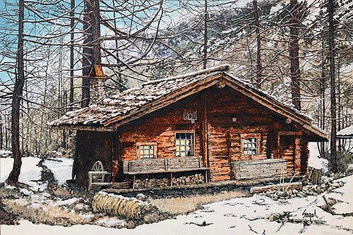 """Mountain Cabin""   24""x36"""