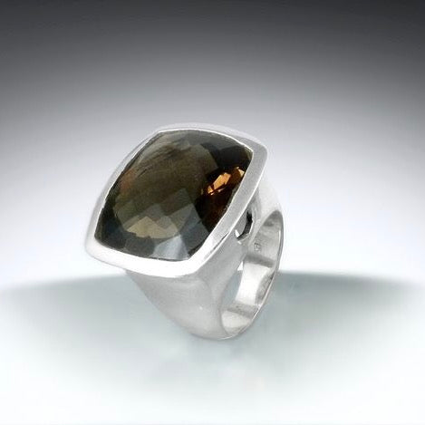 Faceted Square Smoky Topaz Ring