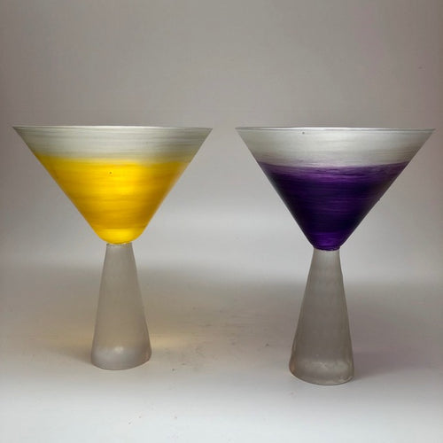 Cone stem Martini - silver Canary and purple (pair)