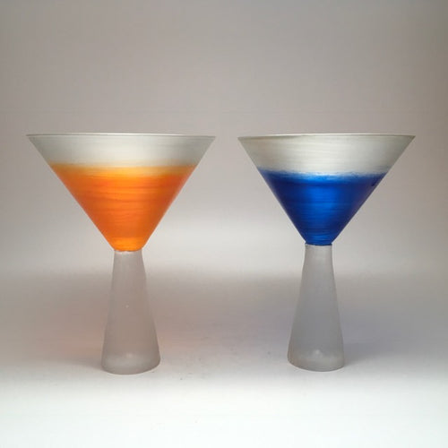 Cone stem Martini - silver orange and blue (pair)
