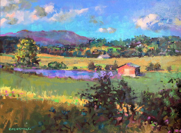"""Red Barn at Pond"" 30x40"