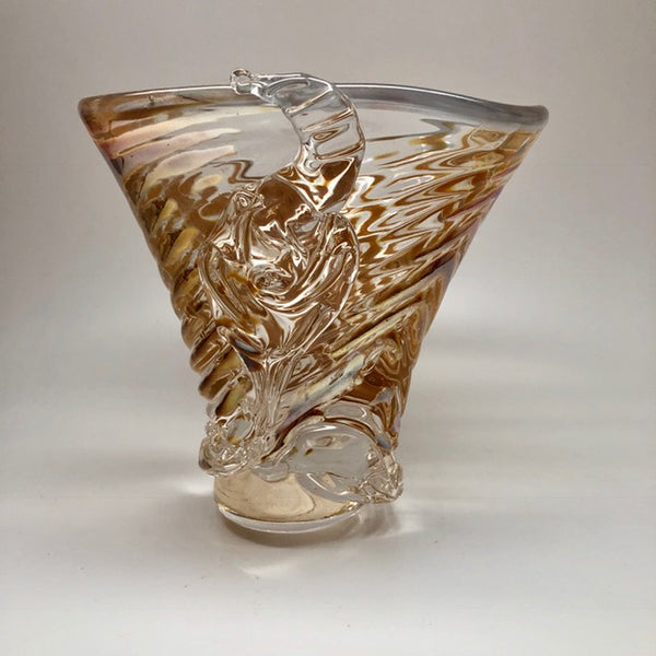 """Golden Wheat Ripple Vase"" 7x7x7.5"