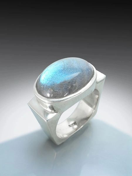 Silver Square Ring with Oval Labradorite