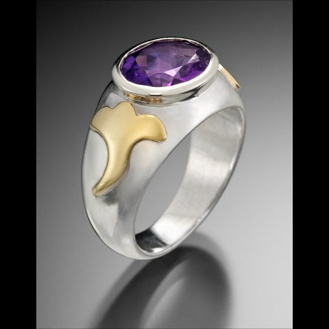 Dove Ring - Amethyst, silver and gold