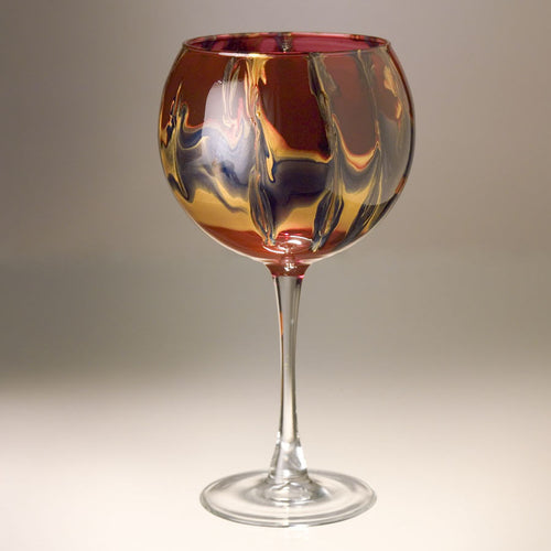 Wine Goblet - Gold, Ruby and Blue - Made to Order