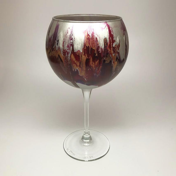 Wine Goblet -silver purple red and gold