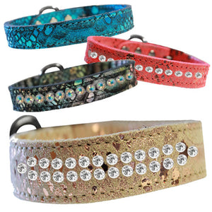 Fancy leather dog collars bling leather collars.