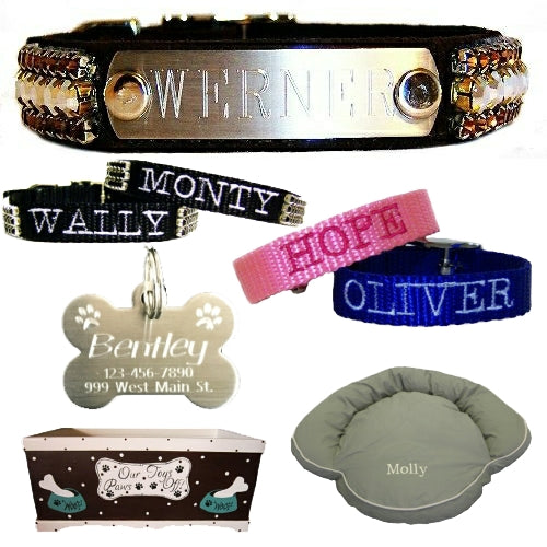 Personalized dog collars, personalized pet id tags, beds and toy boxes.