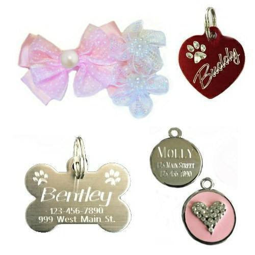 dog id tags, crystal pet charms, pet collar accessories at Dog Collar Fancy.