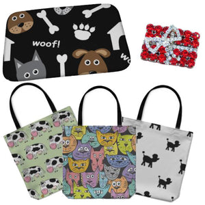 Pet lovers gifts, animal print tote bags, crystal brooches, pet themed gifts