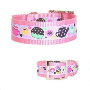 This cute tea time decorative dog collar is made for large dogs.
