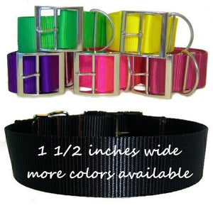 One and a half inch wide nylon dog collar in an array of colors.