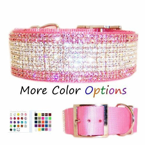 2 Inch Wide Custom Crystal Dog Collar for large dogs