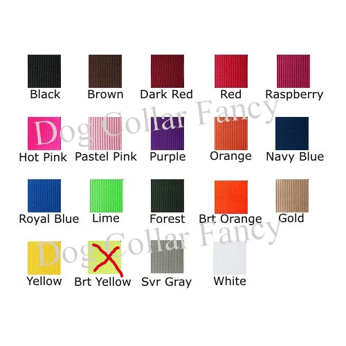 Wide dog collar color chart for personalized dog collars