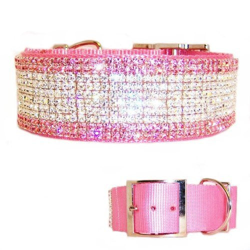 Princess Diamonds 2 Inch Wide Crystal Dog Collar - For large dogs - dog-collar-fancy