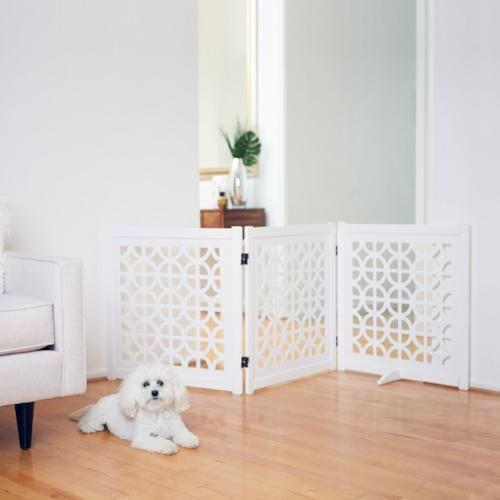 Classic designer dog gate 27 inches tall in white.