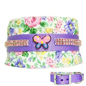 A 3 inch wide dog collar for large dogs with floral print, pink crystals and a butterfly embellishment in the center.