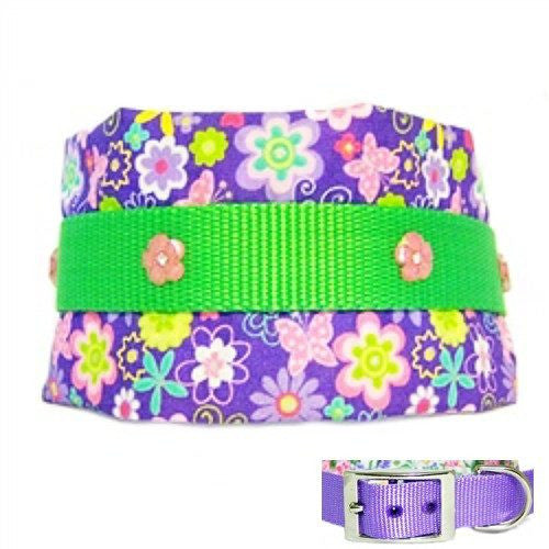 A 3 inch wide dog collar with flowers and butterflies made for large dogs.