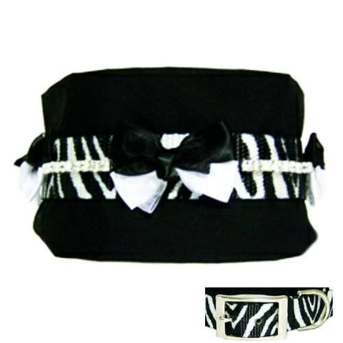 A 3 inch wide dog collar with black and white bows, crystals and zebra stripes.