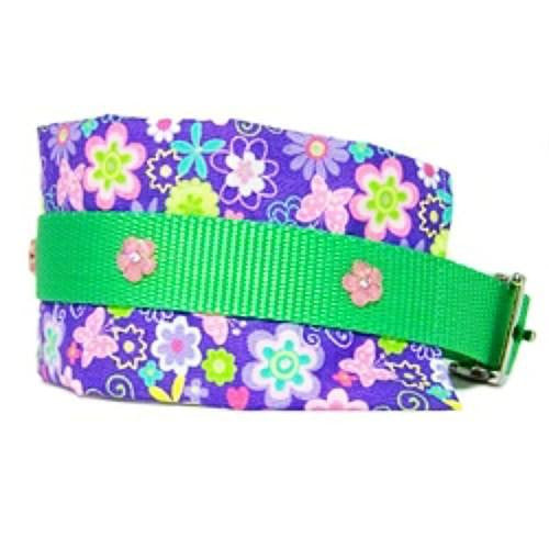 Butterflies and flowers large dog collar side view.