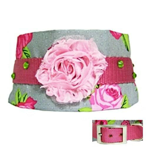 A 3 inch wide dog collar with shabby chic flowers and rose printed fabric and crystals.