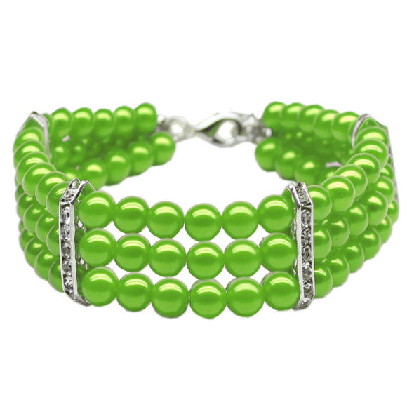 Lime green pearl and rhinestone dog necklace