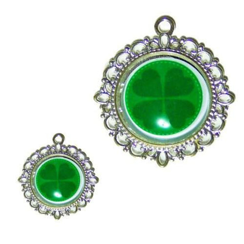 St Patty's Four Leaf Clover Dog Tag - pet charm - dog-collar-fancy