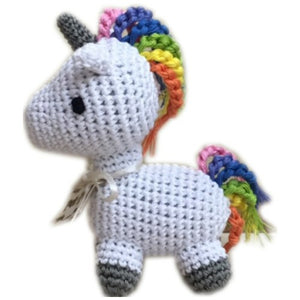 Rainbow colored unicorn dog toy for small dog toys.